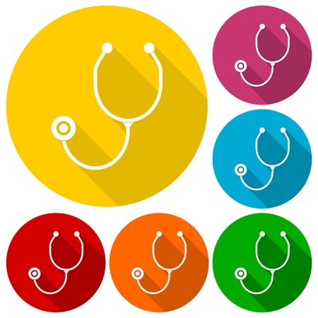listening to heartbeat: Stethoscope icons set with long shadow