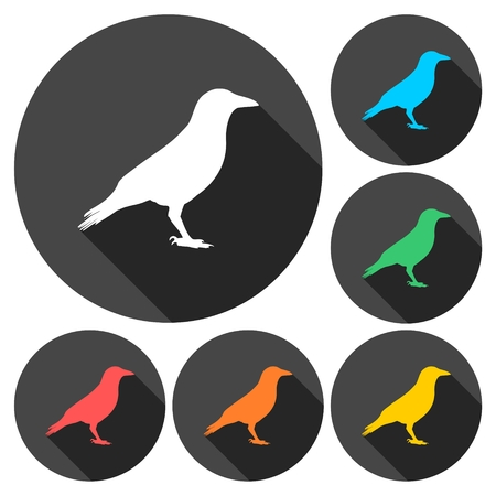 corvus: Crow (Raven) vector silhouette icons set with long shadow