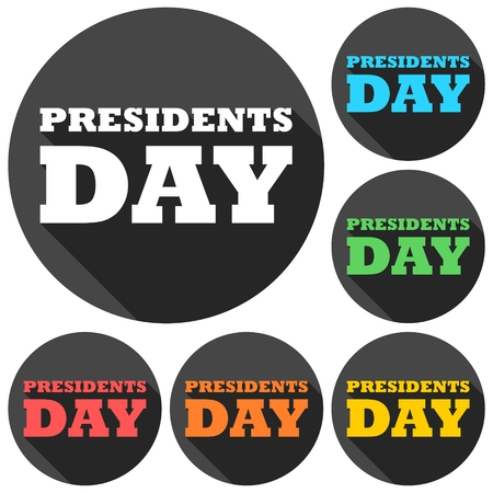 presidents: Presidents day icons set with long shadow