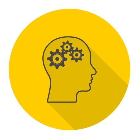 Gear in head icon Illustration