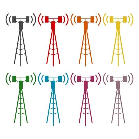 communication tower: Communication antenna tower icons set