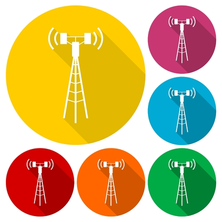 Communication antenna tower icons set with long shadow