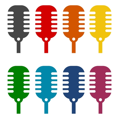 perform: Microphone Vector icons set