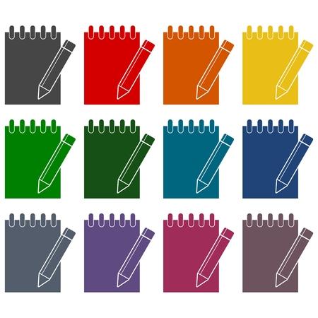 Icona Notebook, Documento con la matita Icone set Vettoriali