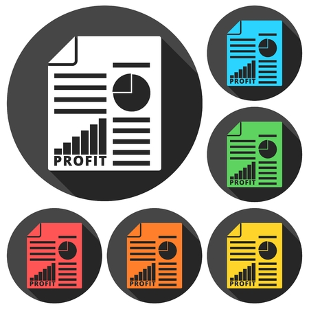 Business profit report icons set with long shadow Illustration