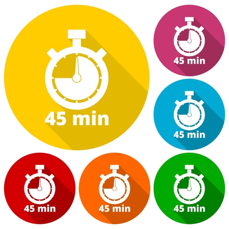 min: 45 minutes stopwatch symbol, Timer icons set with long shadow Illustration