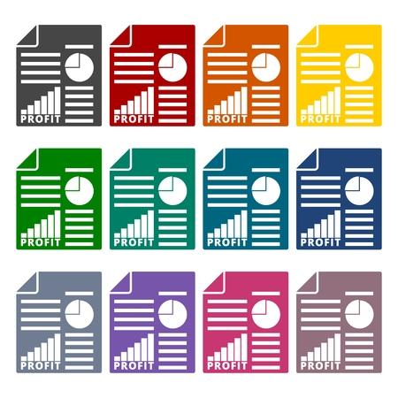apprise: Business profit report icons set Illustration