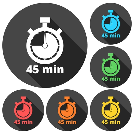 minutes: 45 minutes stopwatch symbol, Timer icons set with long shadow Illustration