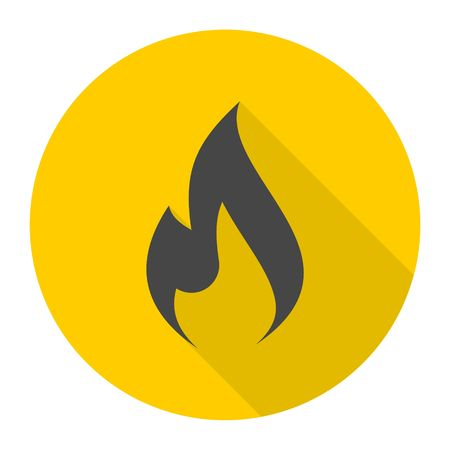 gas flame: Gas Flame Icon with long shadow