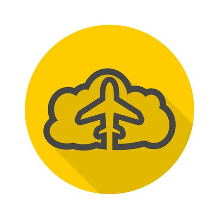 airflight: Airplane Over Cloud vector icon Illustration