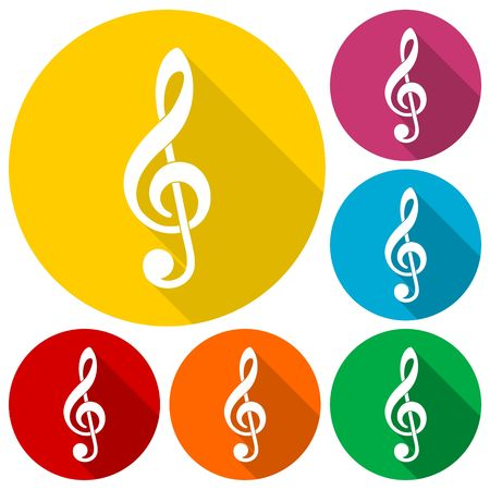 festival scales: Treble clef vector icons set with long shadow