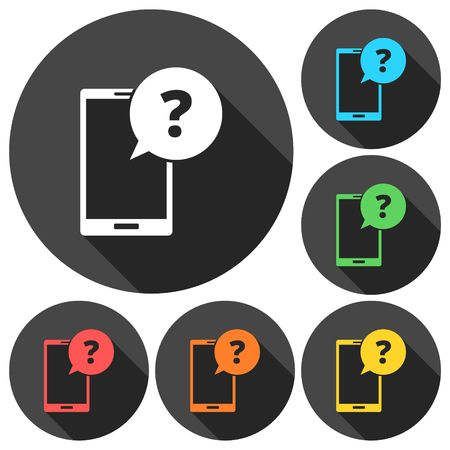 infographics touchscreen: Smartphone, speech bubble, question mark icons set with long shadow