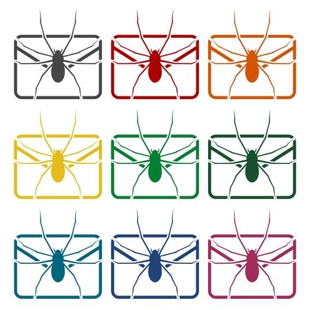 e mail: E mail virus attack icons set