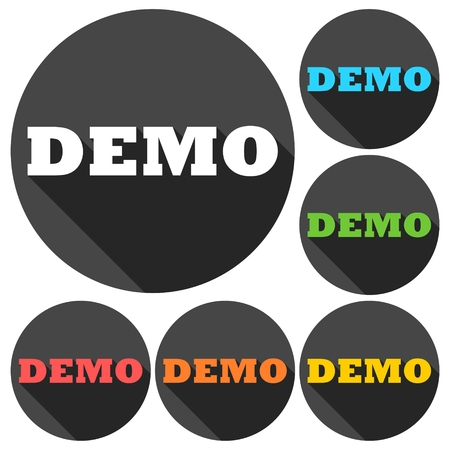 try: Demo icons set with long shadow Illustration