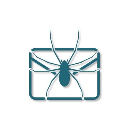 hacked: E mail virus attack icon Illustration