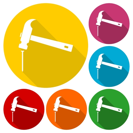 tooling: Hammer and nail icons set with long shadow