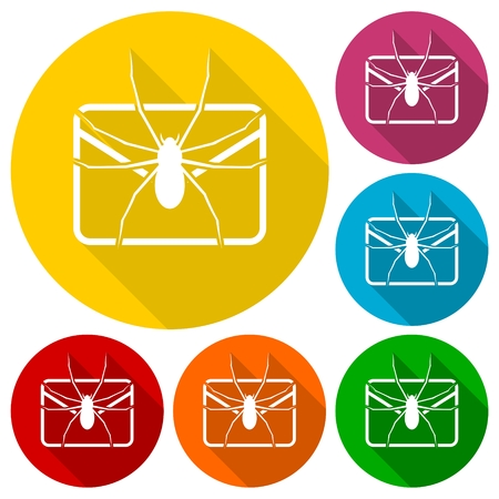 e mail: E mail virus attack icons set with long shadow