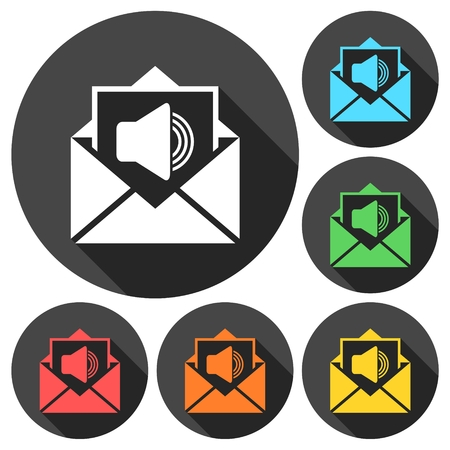 voice mail: Voice mail, Speaker symbol, Audio message icons set with long shadow