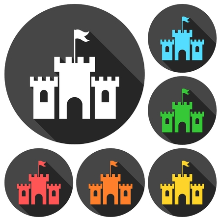 castle silhouette: Old castle silhouette icons set with long shadow