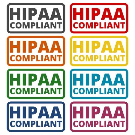 accountability: HIPAA badge - Health Insurance Portability and Accountability Act icons set