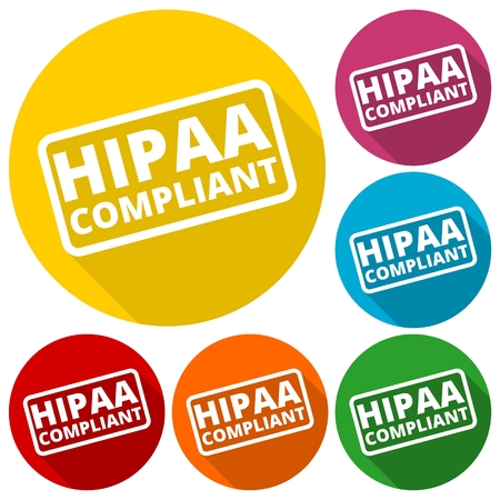 compliant: HIPAA badge - Health Insurance Portability and Accountability Act icons set with long shadow