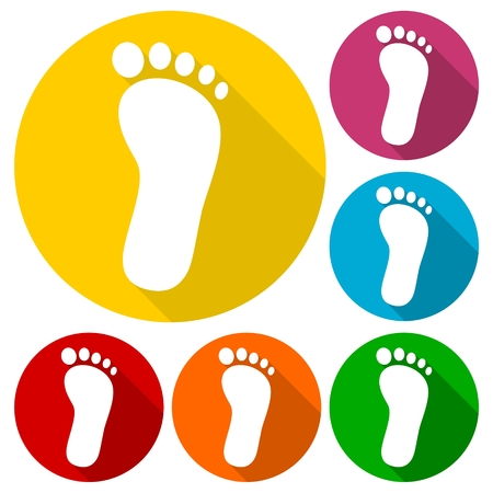 to commit: One footprint icons set with long shadow