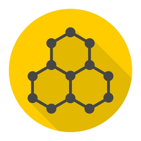 Symbol chemistry, science icon with long shadow