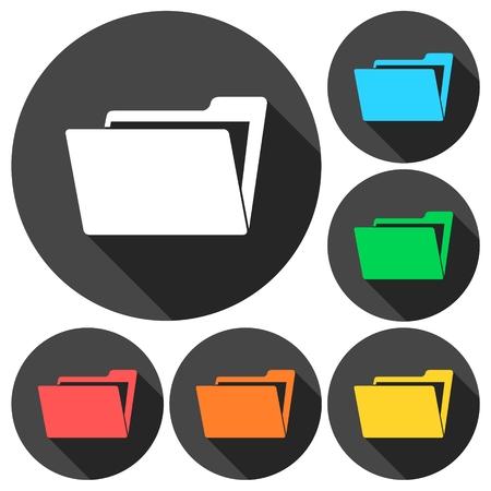 folder icons: File, folder icons set with long shadow Illustration