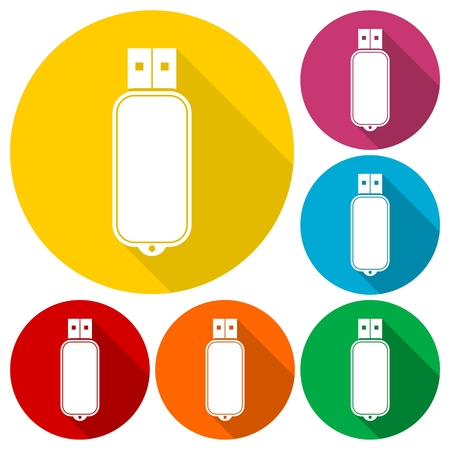 usb flash memory: Usb flash memory icons set with long shadow Illustration
