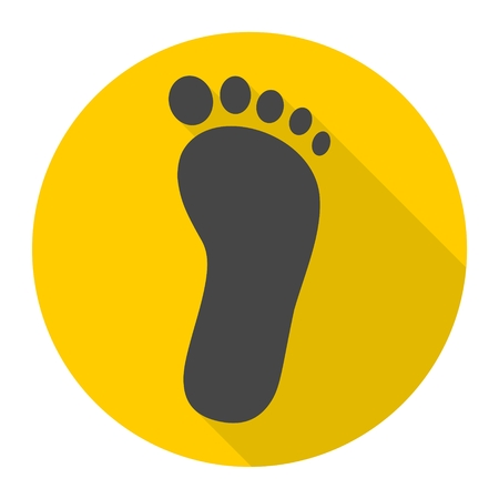 commit: One footprint icon with long shadow Illustration