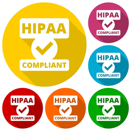 government regulations: HIPAA badge - Health Insurance Portability and Accountability Act icons set with long shadow