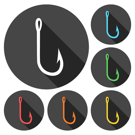 Fishing Hook vector icons set with long shadow