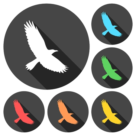 swooping: Crow icons set with long shadow