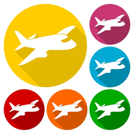 Airplane up icons set with long shadow Illustration