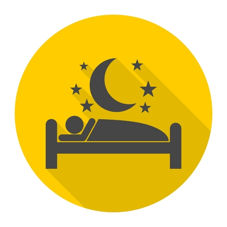 Human in bed, stars and moon icon