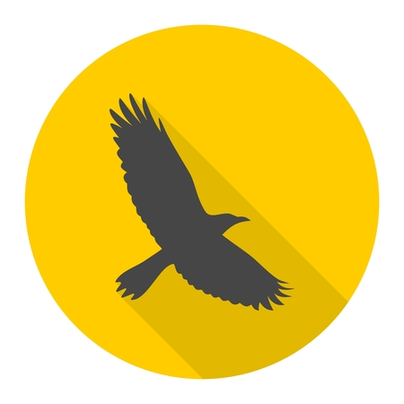 swooping: Crow icon with long shadow