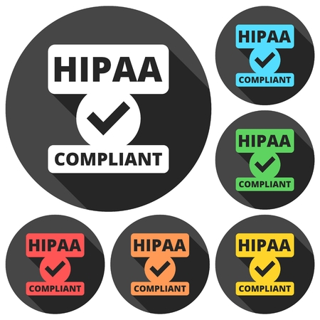 act: HIPAA badge - Health Insurance Portability and Accountability Act icons set with long shadow