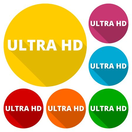 Ultra HD icons set with long shadow Illustration