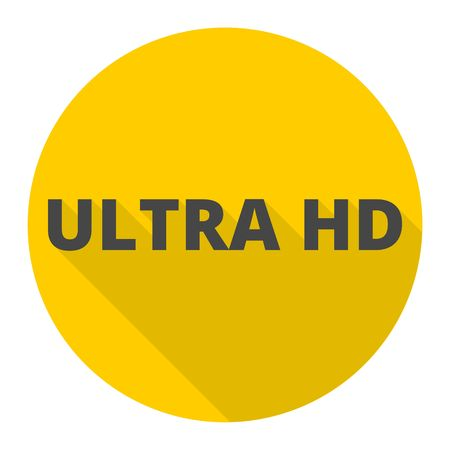hdmi: Ultra HD icon with long shadow