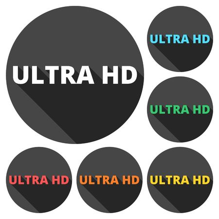 hd: Ultra HD icons set with long shadow Illustration