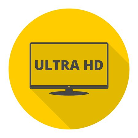 Ultra HD, Monitor, TV icon with long shadow