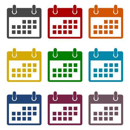 ring binder: Vector Calendar icons set Illustration