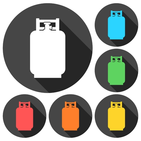 Gas Bottle Icons set with long shadow