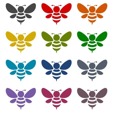 Bee Silhouette illustration icons set 矢量图像