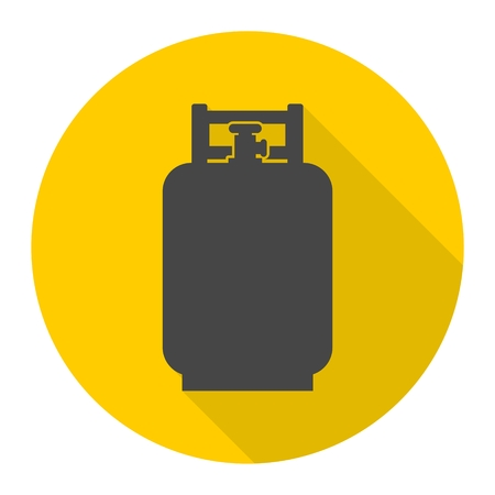 lpg: Gas Bottle Icon with long shadow