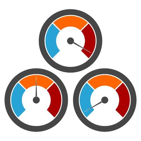 Indicatore di temperatura, manometro, icone manometro set