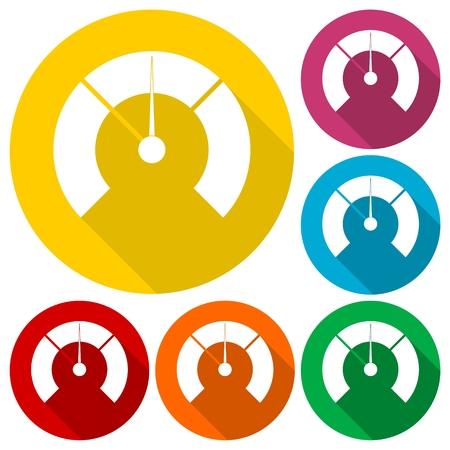 Temperature gauge,Pressure gauge, manometer icons set with long shadow