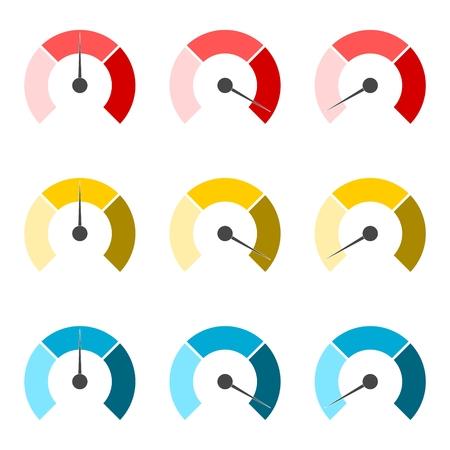 pressure gauge: Temperature gauge,Pressure gauge, manometer icons set