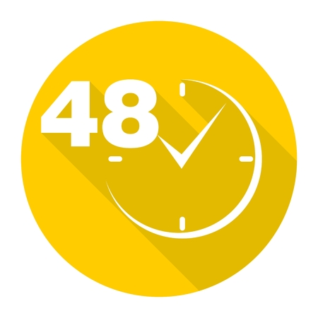 48 hours circular icon with long shadow