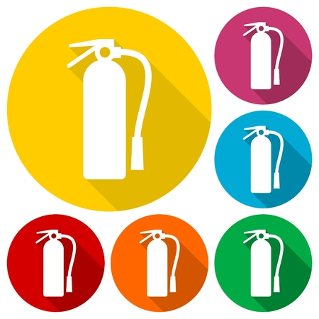 suppression: Fire extinguisher icons set with long shadow Illustration
